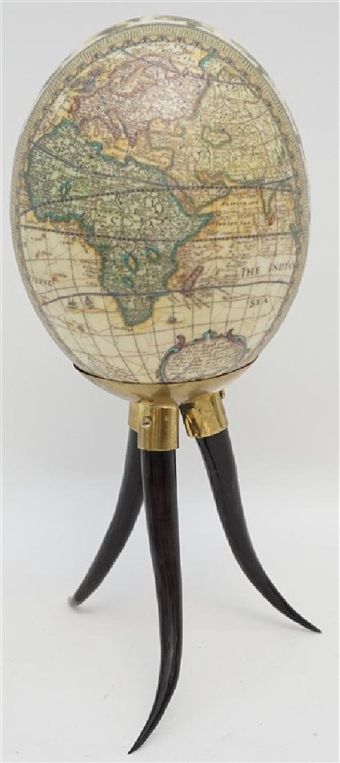 DECOUPAGE WORLD MAP EGG ON HORN STAND - 4