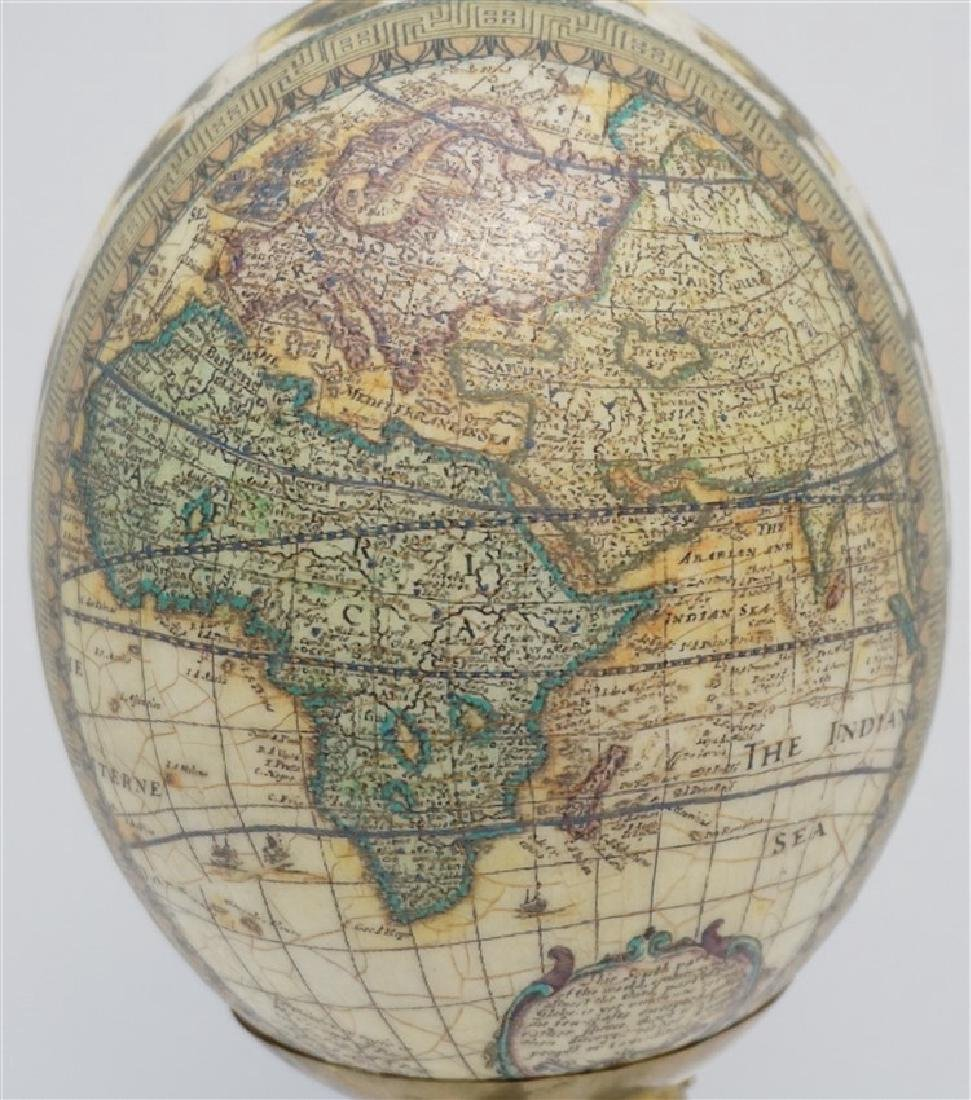 DECOUPAGE WORLD MAP EGG ON HORN STAND - 5