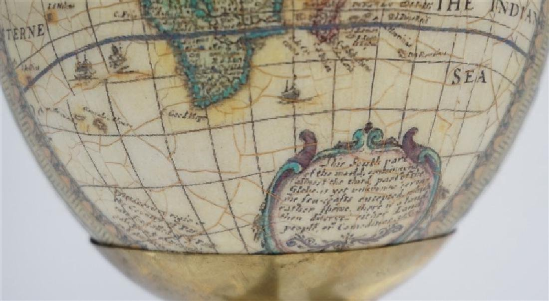 DECOUPAGE WORLD MAP EGG ON HORN STAND - 6