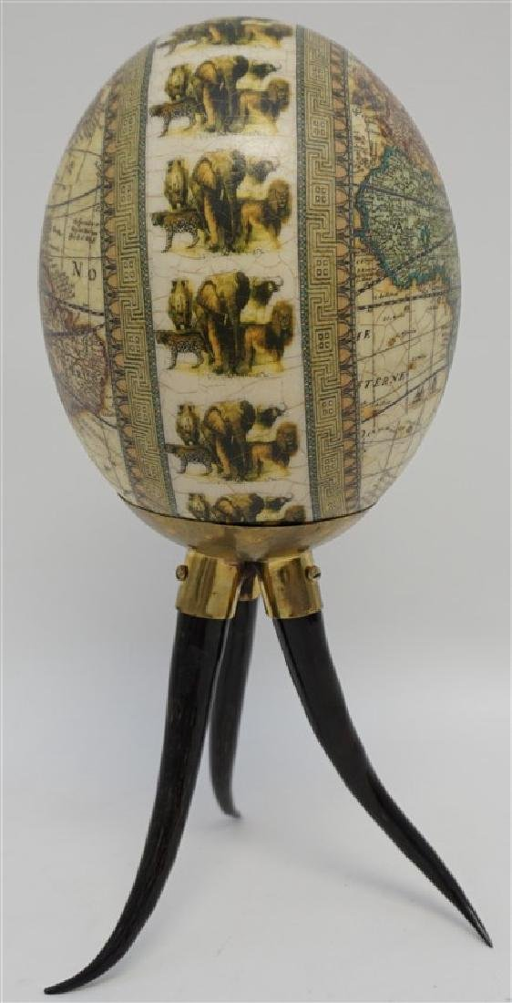 DECOUPAGE WORLD MAP EGG ON HORN STAND - 7