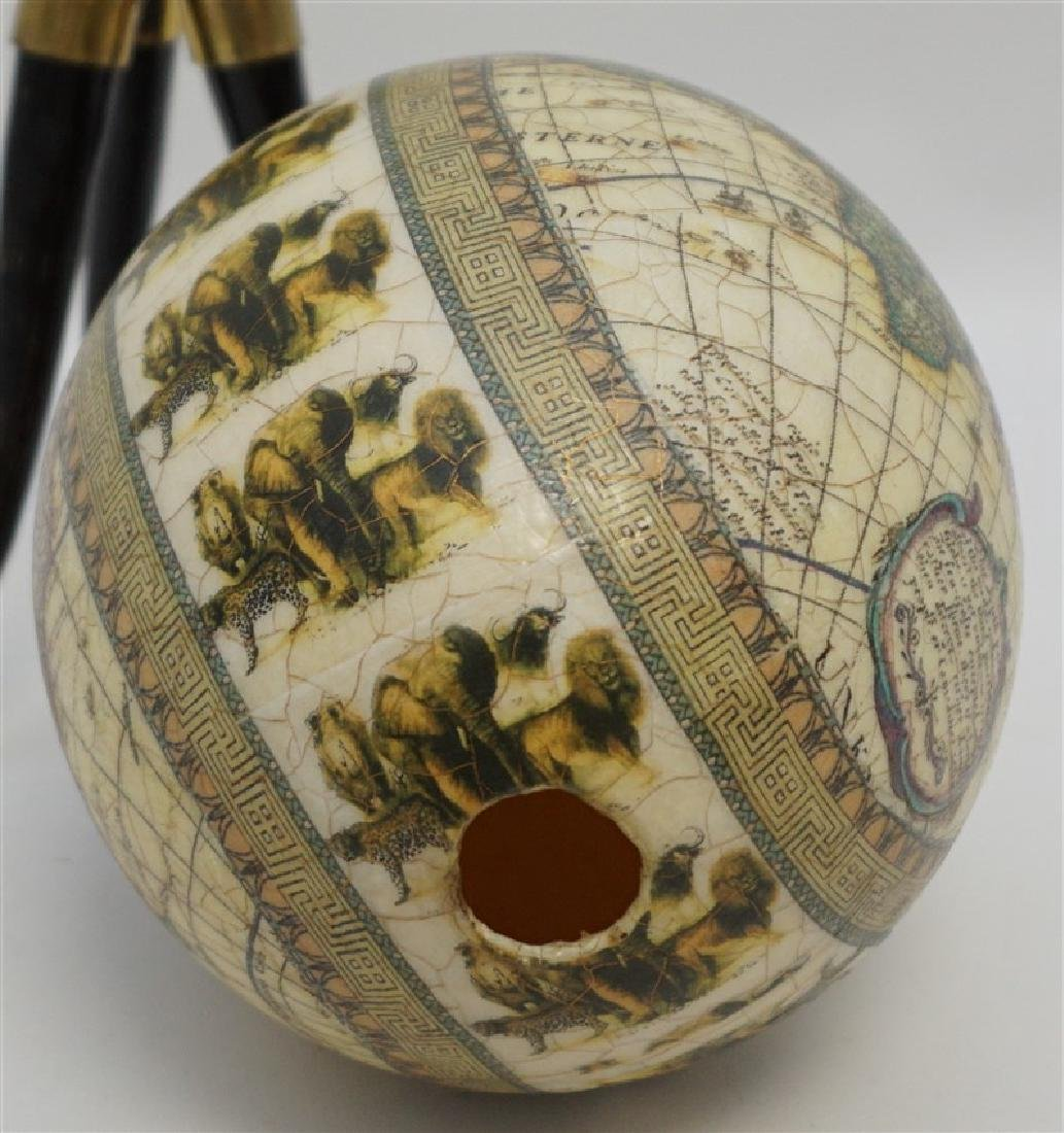 DECOUPAGE WORLD MAP EGG ON HORN STAND - 8