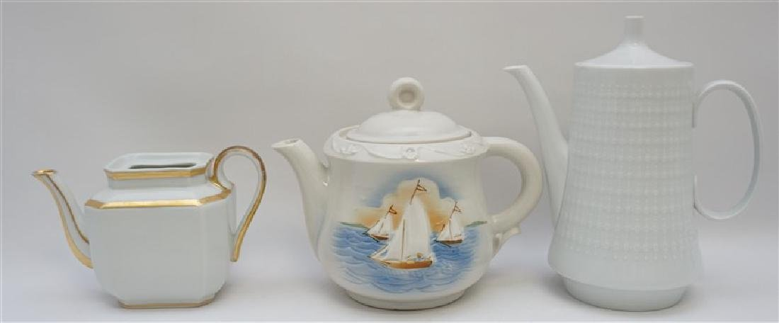 3 pc PORCELAIN TEA AND COFFEE POTS