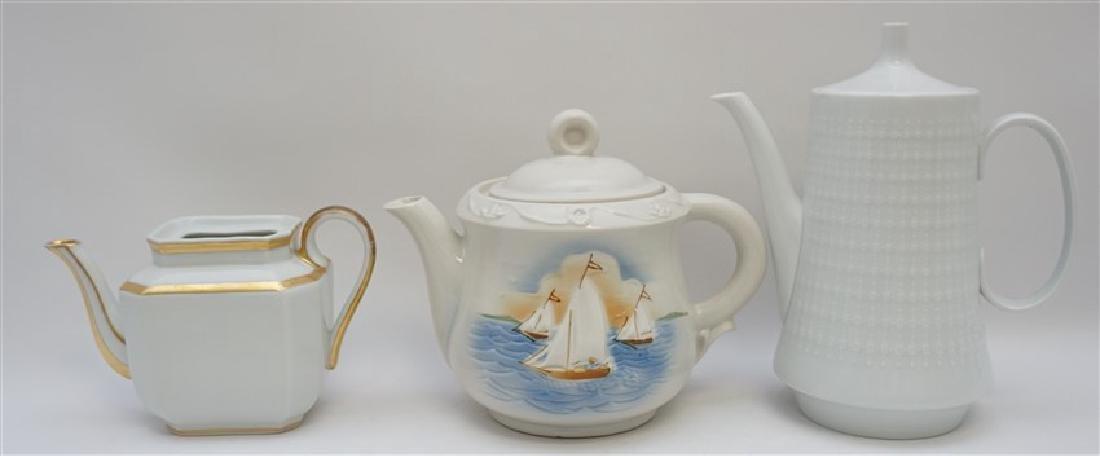 3 pc PORCELAIN TEA AND COFFEE POTS