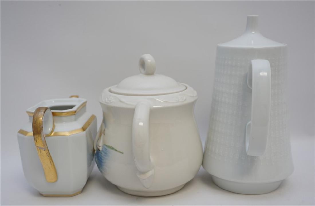 3 pc PORCELAIN TEA AND COFFEE POTS - 6