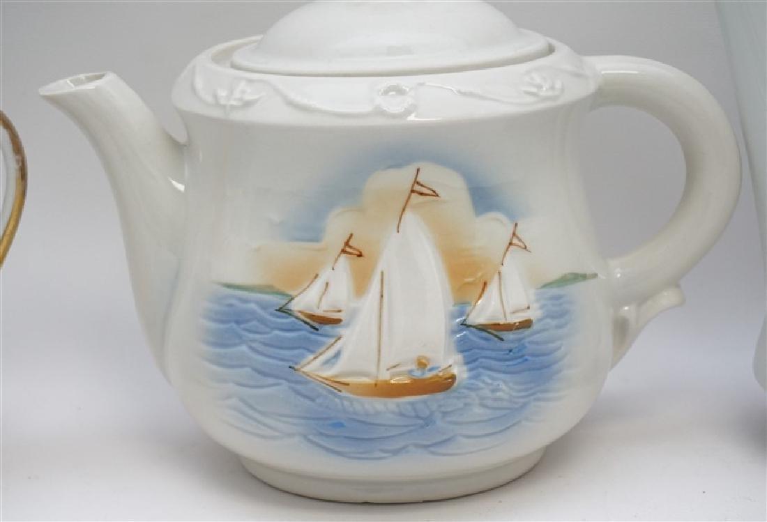 3 pc PORCELAIN TEA AND COFFEE POTS - 7
