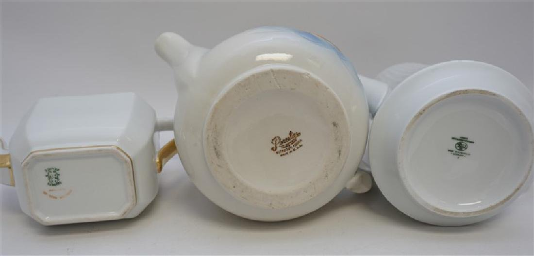 3 pc PORCELAIN TEA AND COFFEE POTS - 8