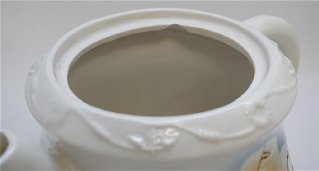 3 pc PORCELAIN TEA AND COFFEE POTS - 9