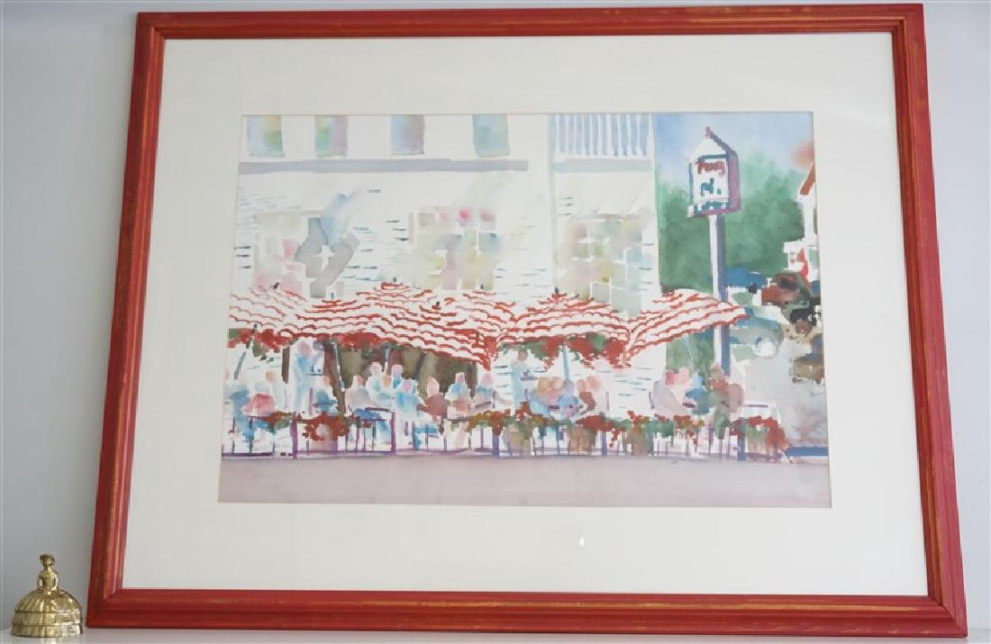 LARGE ORIGINAL WATERCOLOR CAFE - 6