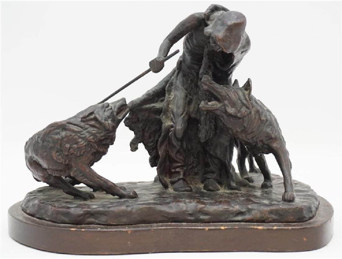 BRONZE NATIVE AMERICAN WITH WOLVES