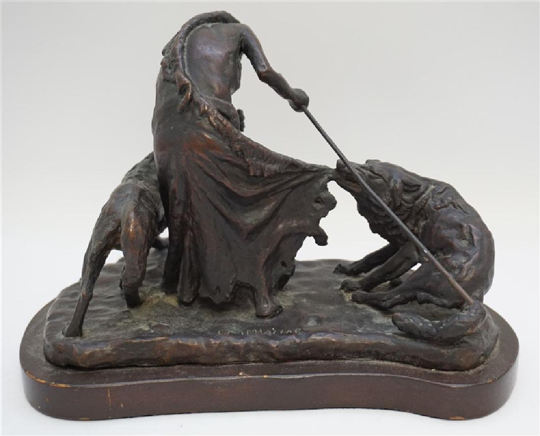 BRONZE NATIVE AMERICAN WITH WOLVES - 4