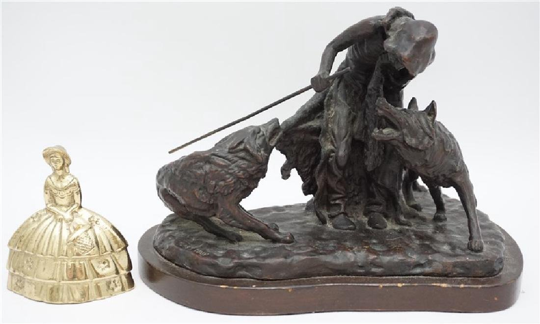 BRONZE NATIVE AMERICAN WITH WOLVES - 9
