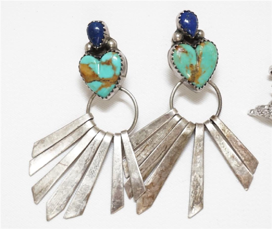 5 PC STERLING NATIVE AMERICAN - TURQUOISE + - 3