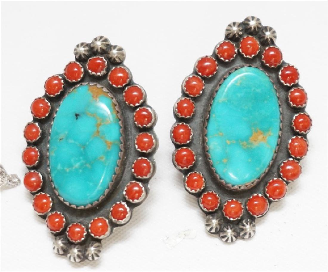5 PC STERLING NATIVE AMERICAN - TURQUOISE + - 4