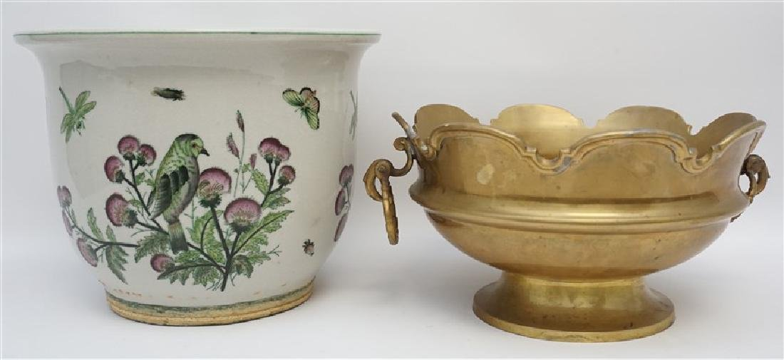 MOTTAHEDEH BRASS BOWL WITH PLANTER