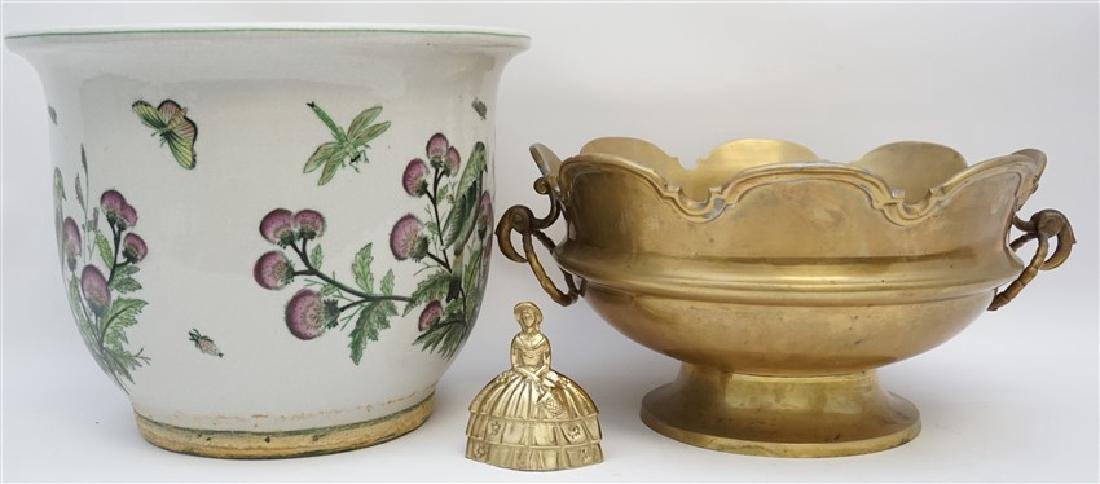 MOTTAHEDEH BRASS BOWL WITH PLANTER - 9
