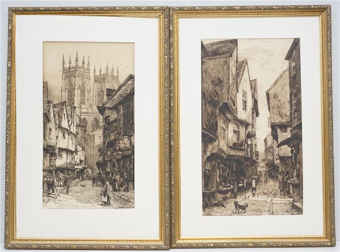 PAIR EDWARD SLOCOMBE (1850-1925) ETCHINGS