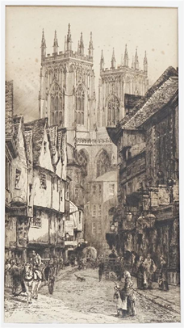 PAIR EDWARD SLOCOMBE (1850-1925) ETCHINGS - 2