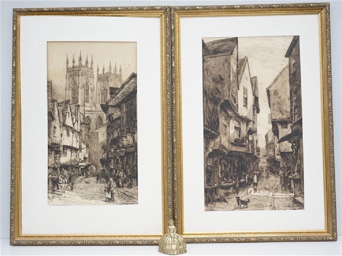 PAIR EDWARD SLOCOMBE (1850-1925) ETCHINGS - 8