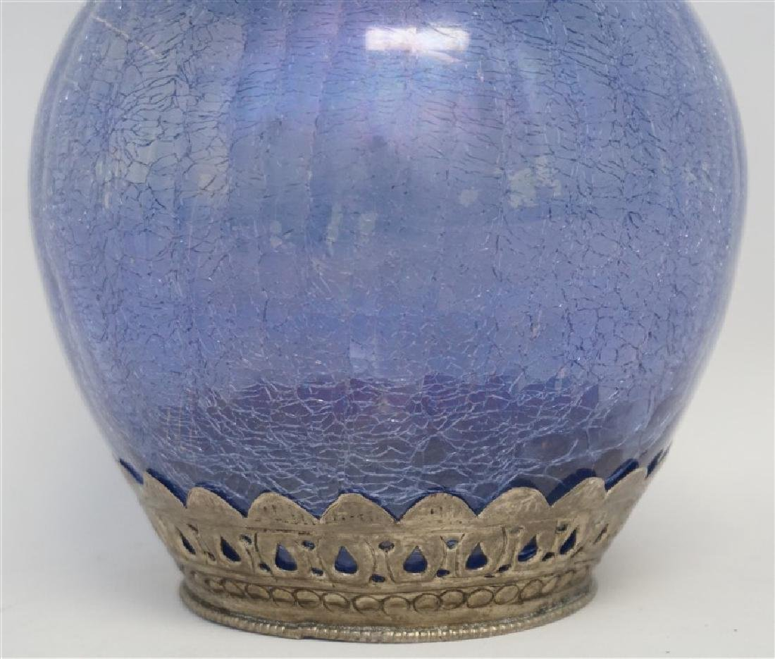 BLUE CRACKLE GLASS DECANTER - 2