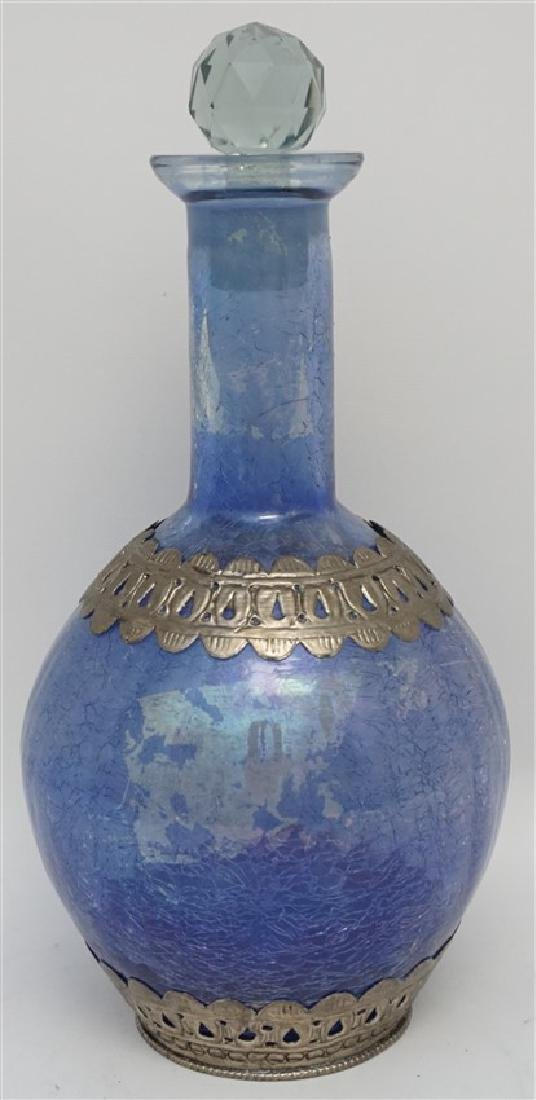 BLUE CRACKLE GLASS DECANTER - 7