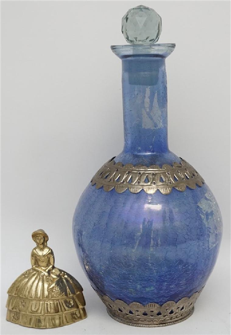 BLUE CRACKLE GLASS DECANTER - 9