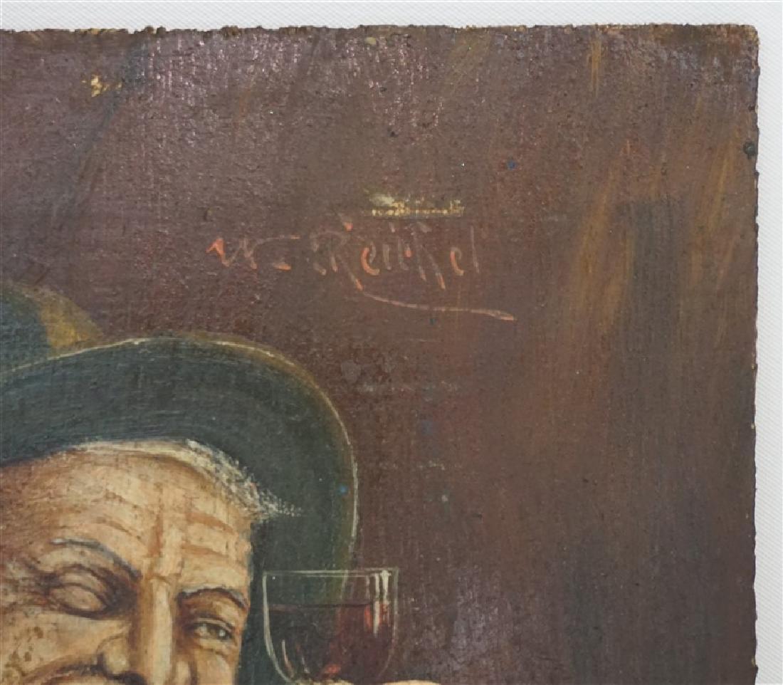 GERMAN OIL ON BOARD VINTNER WITH GLASS - 4