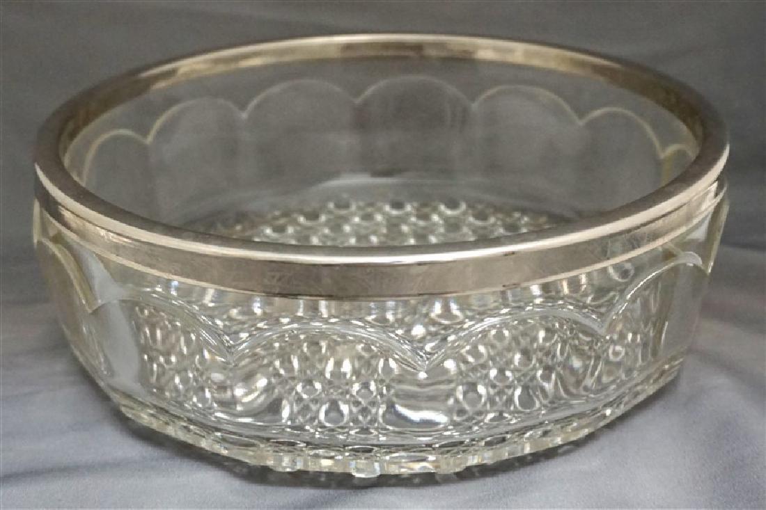 ENGLISH GLASS BOWL SILVERPLATE RIM