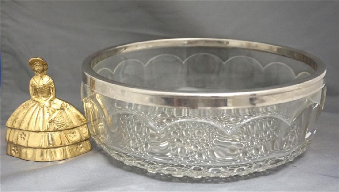 ENGLISH GLASS BOWL SILVERPLATE RIM - 4