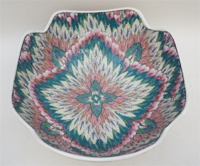 CHINESE FAMILLE ROSE PEACOCK FEATHER BOWL