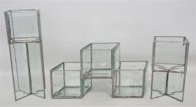 3PC GLASS CANDLE HOLDERS