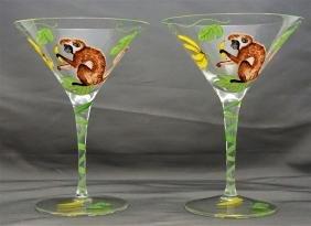 2 LYNN CHASE MONKEY BUSINESS MARTINI GLASSES