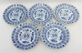 5PC CHINESE KANGXI BLUE & WHITE PLATES