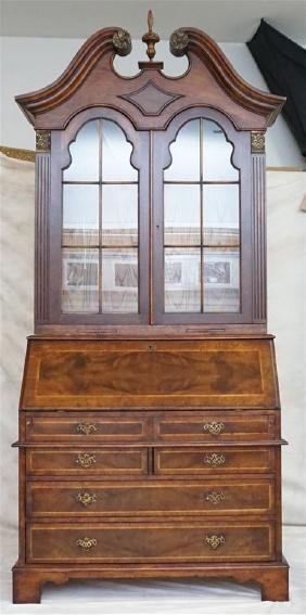 LARGE INLAID MAHOGANY SECRETARY BOOKCASE