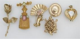 6 PC COSTUME BROOCHES
