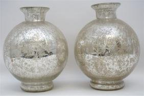 2 FLORAL ETCHED MERCURY GLASS VASES
