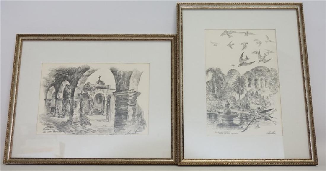 2 ALEC STERN ETCHINGS CALIFORNIA MISSION