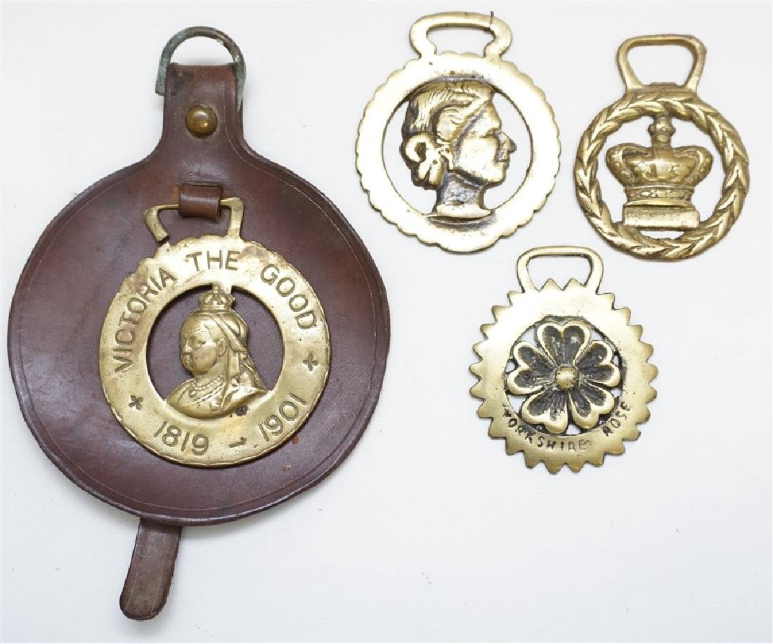 FOUR ENGLISH HORSE BRASSES