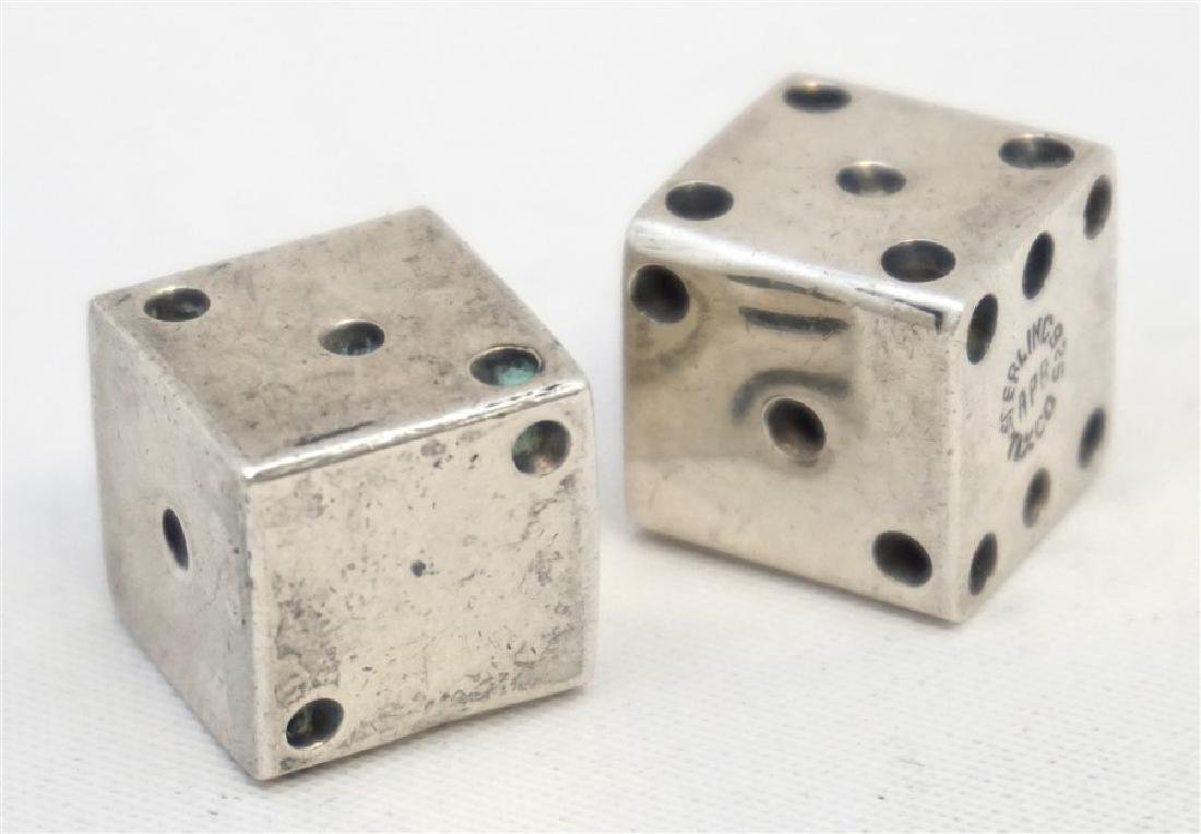 2 STERLING SILVER TAXCO DICE - 4