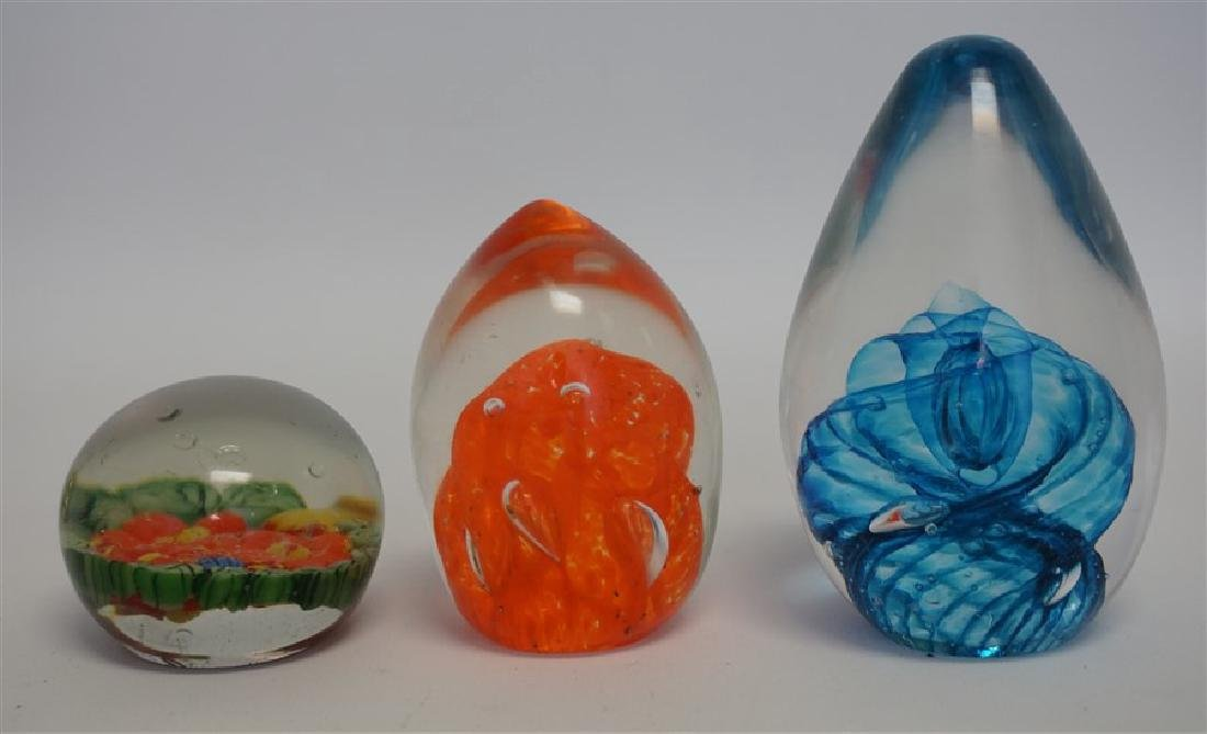 3 STUDIO ART GLASS PAPERWEIGHTS - 5