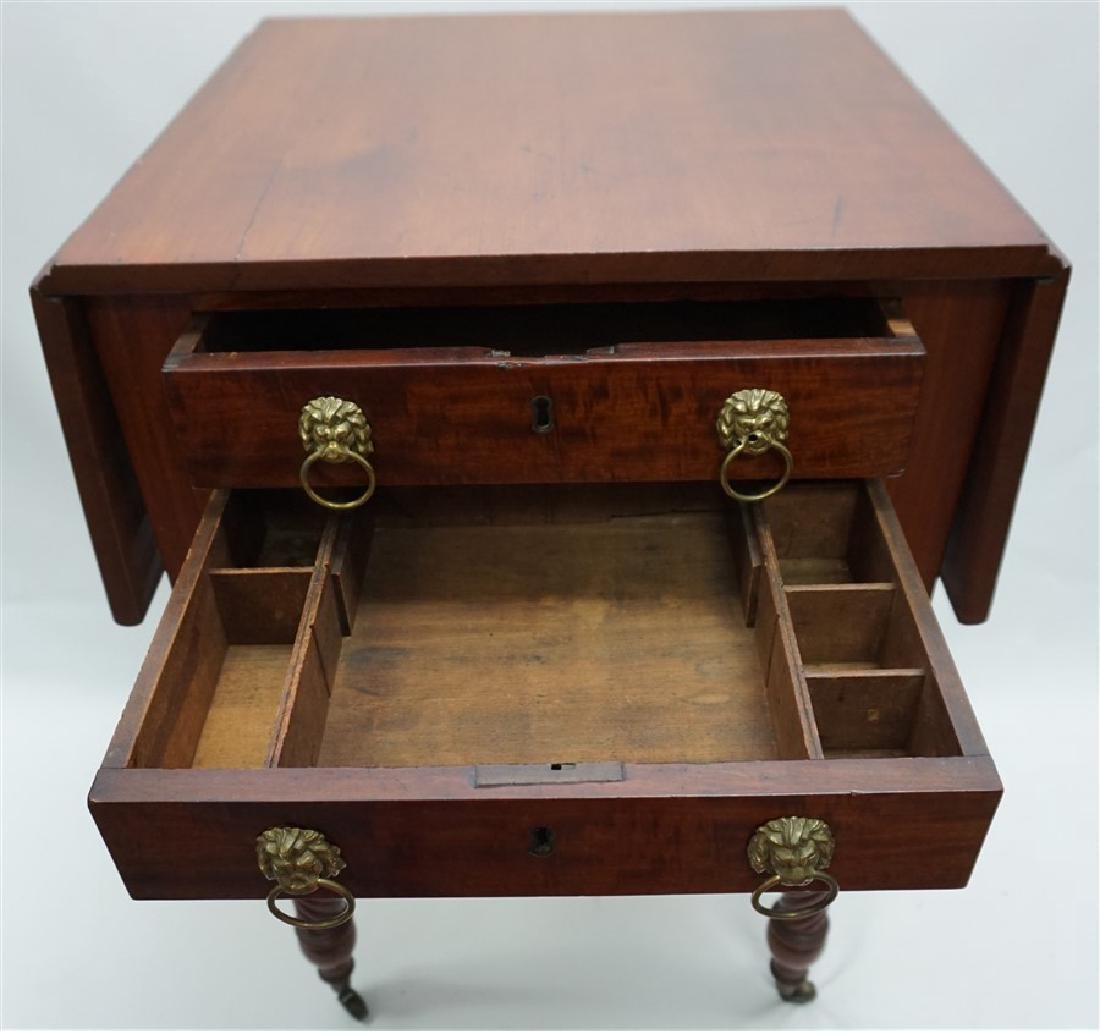 19th c. AMERICAN DROP LEAF WORK TABLE - 6