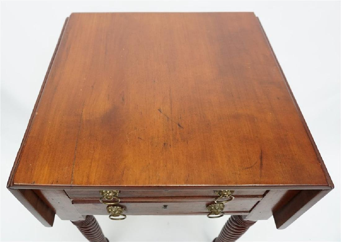 19th c. AMERICAN DROP LEAF WORK TABLE - 9