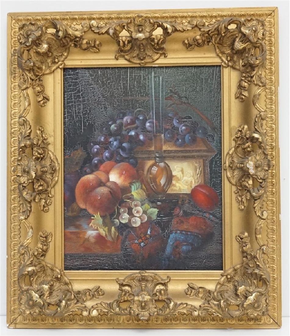OIL ON CANVAS STILL LIFE FRAMED