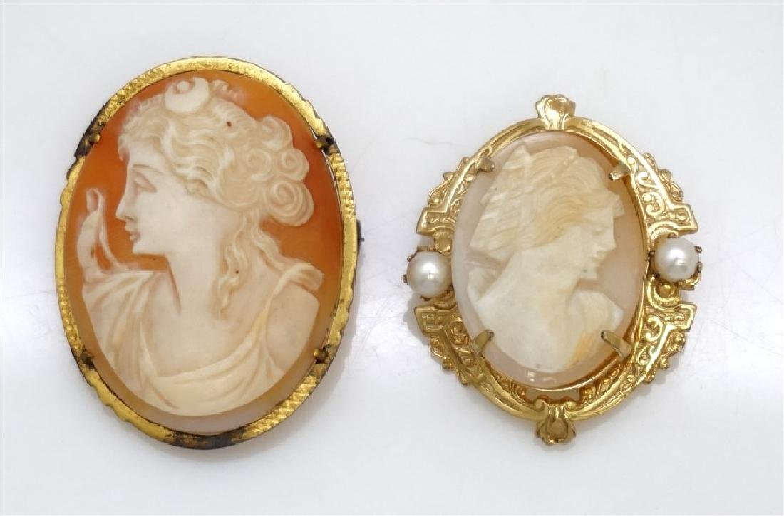 2PC VINTAGE CARVED CAMEOS- GOLD PLATED