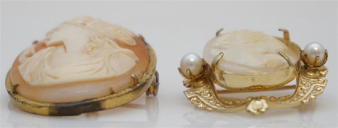 2PC VINTAGE CARVED CAMEOS- GOLD PLATED - 2