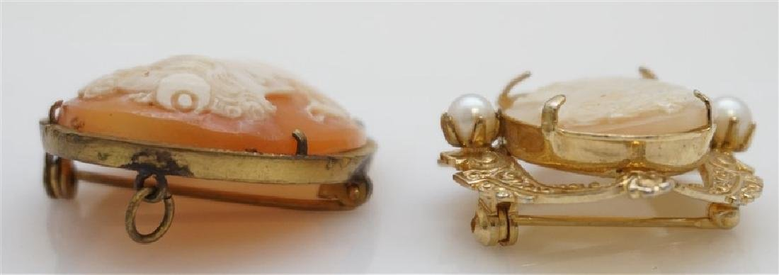2PC VINTAGE CARVED CAMEOS- GOLD PLATED - 4