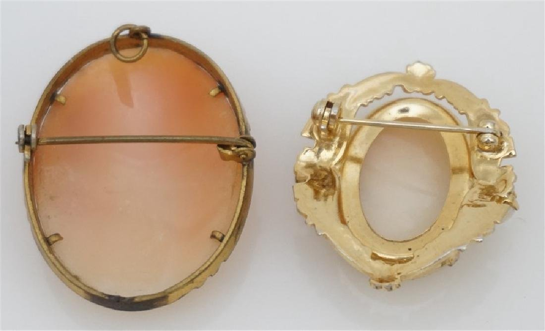 2PC VINTAGE CARVED CAMEOS- GOLD PLATED - 5