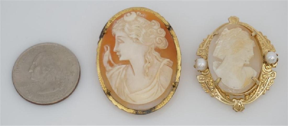 2PC VINTAGE CARVED CAMEOS- GOLD PLATED - 6