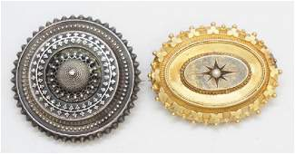 2 VICTORIAN 19th c MOURNING BROOCHES