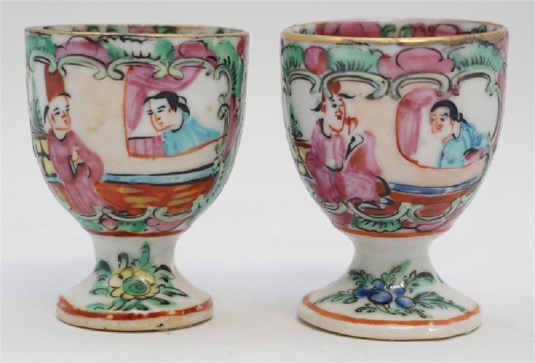 2 QING DYNASTY ROSE MEDALLION EGG CUPS