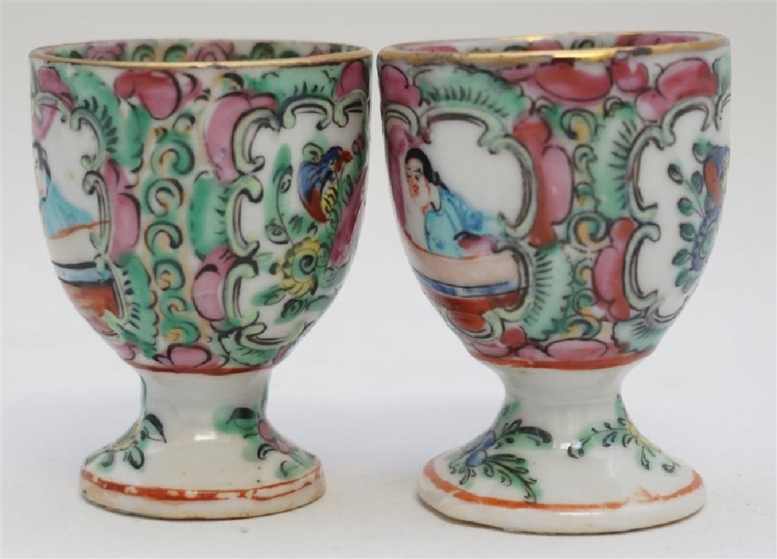 2 QING DYNASTY ROSE MEDALLION EGG CUPS - 2